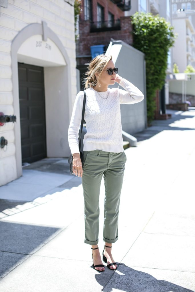 Mary Orton has created a gorgeously elegant spring look here, pairing khaki chinos with a white knit sweater and an understated pair of heeled sandals. This look is simple but smart, and rest assured it will suit any occasion!  Trousers: Banana Republic, Sweater: Old, Sandals: Steve Madden, Bag: Moyi Moyi.