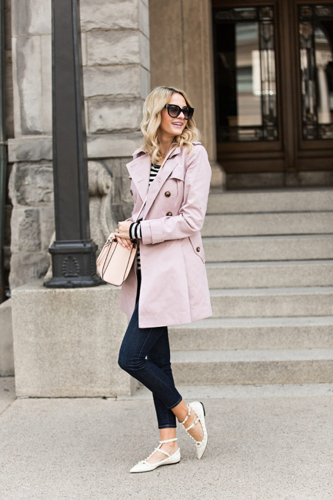 A trench coat will make the perfect match to a pair of dark denim jeans, like this pair worn by Emily Jackson. In this way, it can just as easily be a casual coat as it can be glamorous!   Coat: Asos, Top: Proenza Schouler, Jeans: Freame, Shoes: Valentino, Bag: Tory Burch.