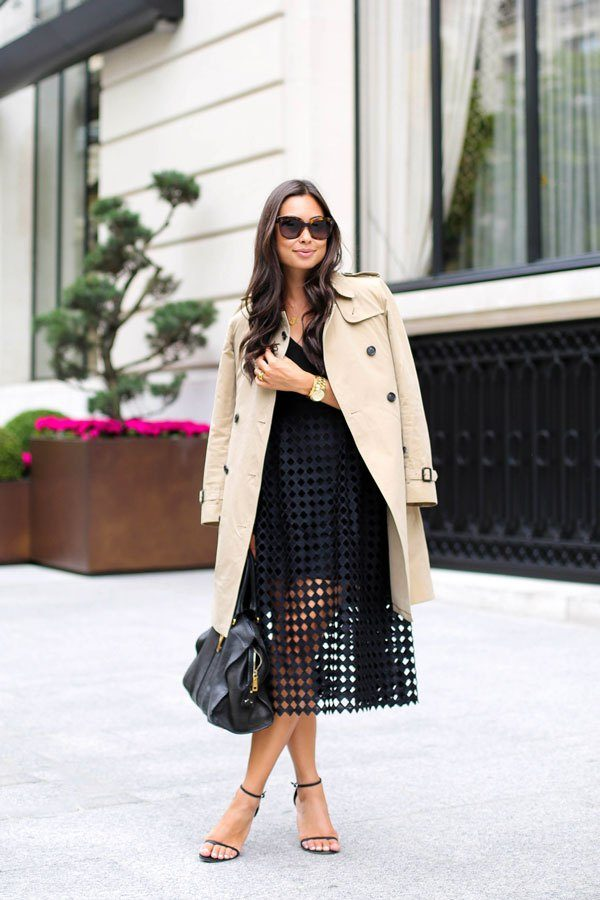 This gorgeous beige trench is the perfect match to this sexy black lace dress with net detailing as it adds sophistication without taking away the flirtiness of the look. We love it! Via Kat Tanita. Trench: Burberry, Dress: Cynthia Rowley, Bag: YSL, Heels: Stuart Weitzman.
