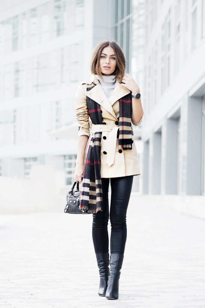 Lydia Lise Millen looks ultra chic in this belted cream trench, worn with a statement cashmere tartan scarf and simple black jeans. This look is the ultimate spring style and will suit any eventuality.  Trench/Scarf: Burberry, Denim: Citizens of Humanity, Knit: The White Company, Bag: Balenciaga, Boots: Chloe.