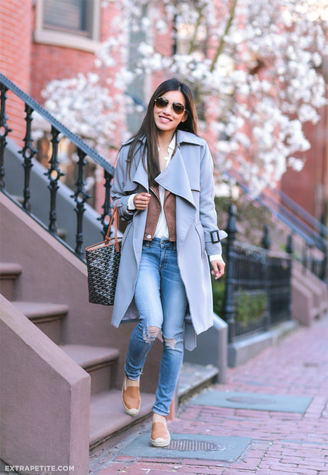 Jean Wang looks cute and more than ready for spring in this adorable pastel blue trench! Paired with distressed jeans, platforms, and a suede jacket, this trench is the final ingredient in a gorgeous spring style! Trench: Chicwish, Jacket: Blank NYC, Jeans: Rag & Bone.