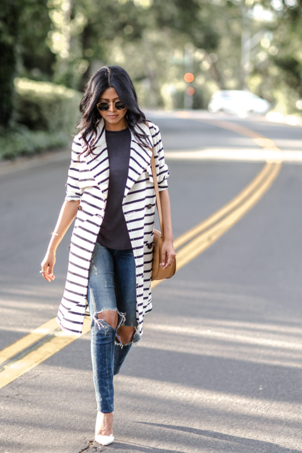 Break tradition and go for a statement trench like this cute horizontally striped number. This pattern not only slims the wearer but is also eye catching and stylish! Via Sheryl Luke. Trench: Madewell, Tank: Urban Outfitters, Jeans: Citizens of Humanity, Shoes: Zara, Bag: Cuyana, Sunglasses: Rayban.