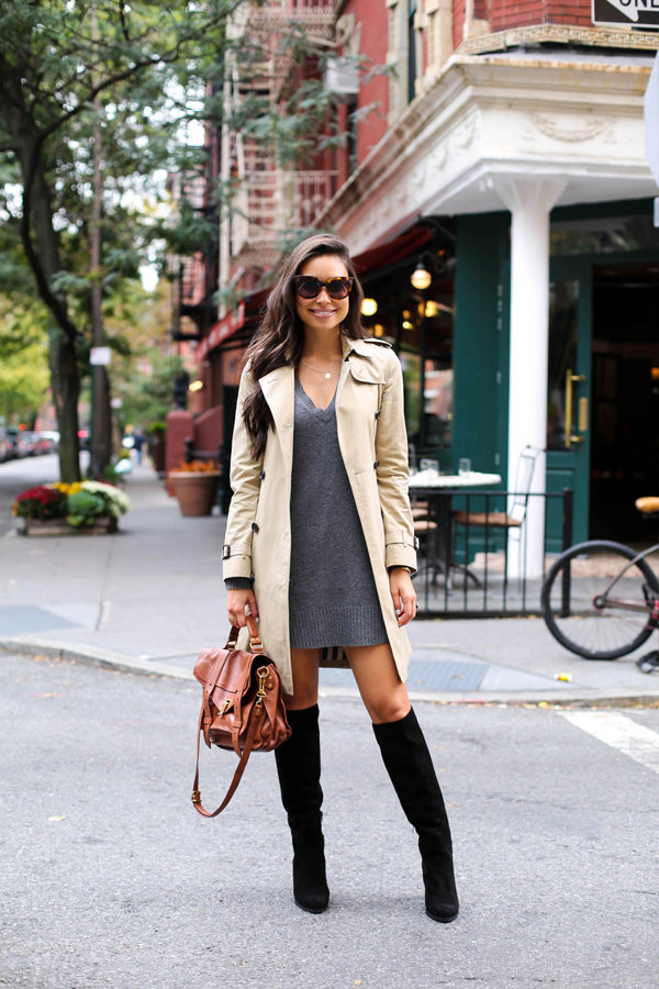 Kat Tanita shows us how the classic beige trench is the ultimate match to a V neck sweater dress and knee high boots! This look is sophisticated yet sexy, and we love it! Dress: Calypso St. Barth, Trench: Burberry, Boots: M. Gemi, Bag: Proenza Schouler.