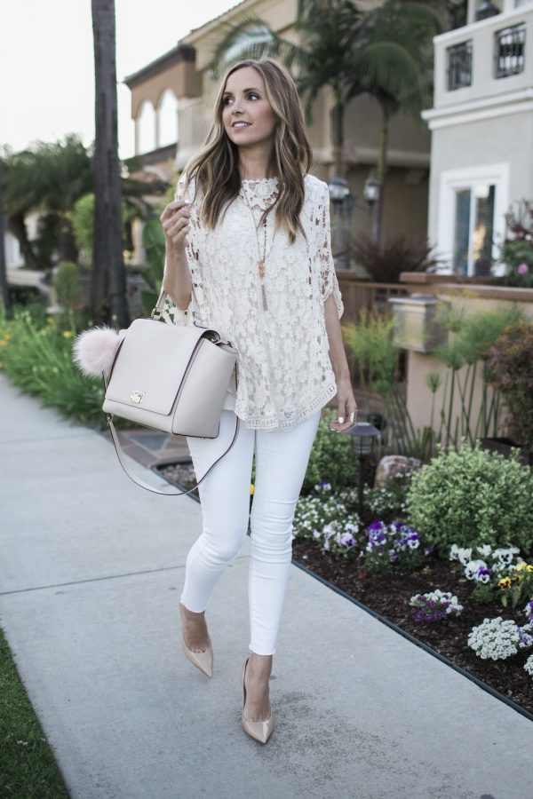 Try layering all white fabrics over white jeans like Merrick White to achieve this gorgeous and graceful style. We love the intricate details of this top, and the whole outfit just screams summer glam! Outfit: Maurices.