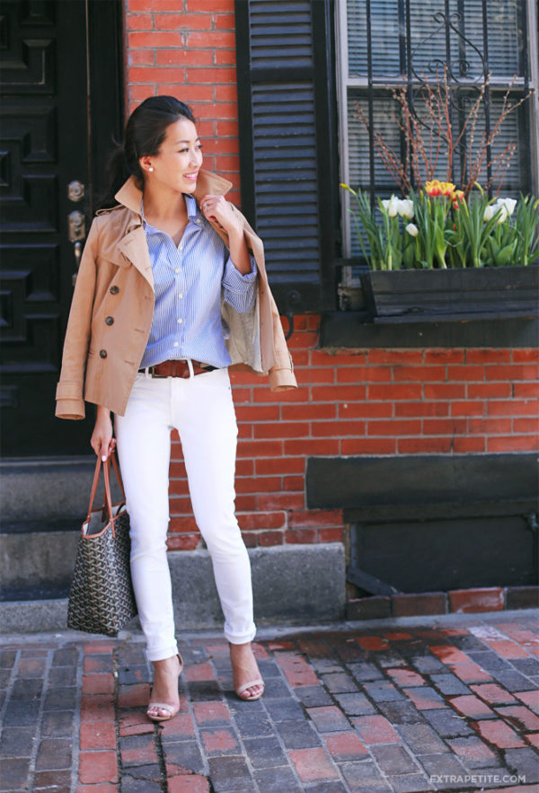 If you're looking for a smarter style, try pairing white jeans with a button up shirt and camel trench like Jean Wang! This look is sophisticated yet flirty; perfect for work or leisure wear! Jeans: Articles of Society Jeans, Shirt/Jacket: Banana Republic.