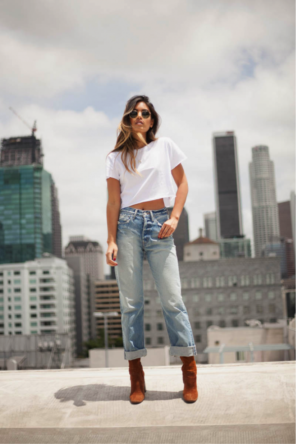 For an uncomplicated and easily replicable summer outfit, copy Jill Wallace. We love the simplicity of this look, a pair of jeans and a white t-shirt. For a more grungy look, you could easily add a leather or denim jacket, and opt for some black boots rather than the tanned ones that are modelled. Jeans: Moussy, Boots: Zara, Top: Brand not specified