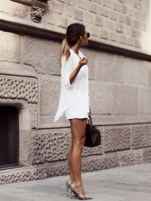 Strip your wardrobe back to basics and dare to wear an all-white shirt and shorts outfit, like Audrey Leighton Rogers. We love how the simplicity of this look is juxtaposed with gorgeous faux snakeskin heels; this is a style you have got to try! Outfit: Primark.
