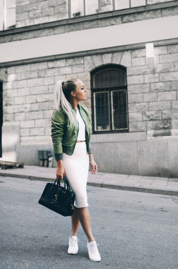 A stylish pair of sneaks can definitely make a pencil skirt pop. Take a tip from Angelica Blick and combine an all white set (pencil skirt, crop top and sneaks) with coordinating jacket and purse for a cleverly casual and beautiful image. Skirt: Zara, Top: River Island, Jacket: ASOS, Purse: YSL, Shoes: Nike