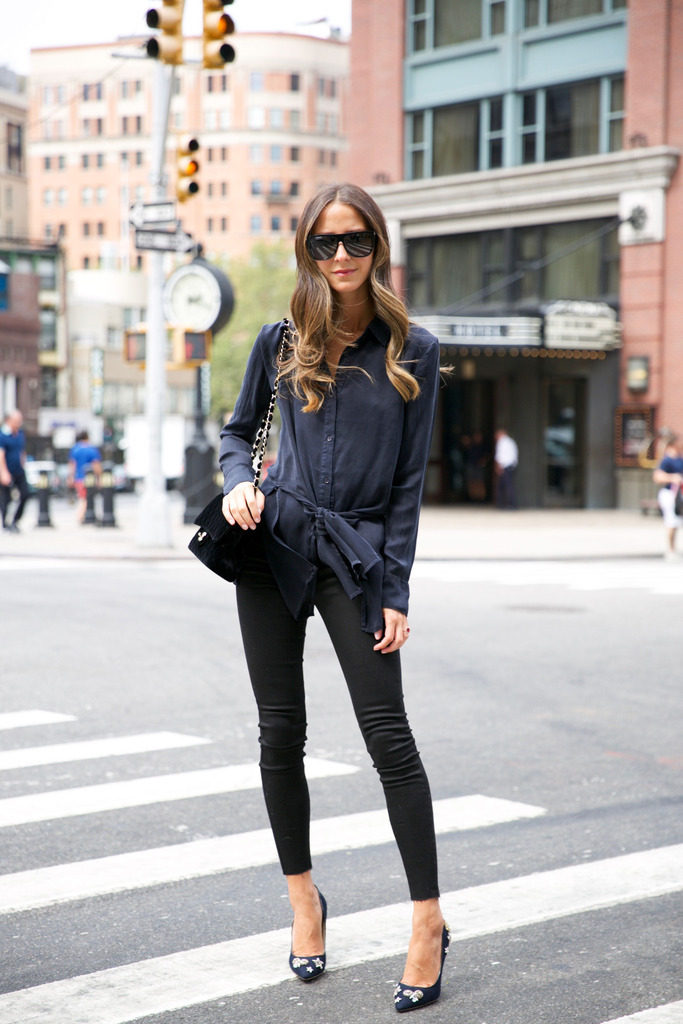 Buy a top with a twist this fall; Arielle Nachami looks brunch ready in her oversized sunnies and velvet Chanel bag. Velvet is everywhere this fall, if you don't own a velvet bag then pair your top with velvet pants for a fashion forward alternative. Jeans: Mott and Bow, Top: RtA, Shoes: Jimmy Choo, Bag: Chanel, Sunglasses: Saint Laurent