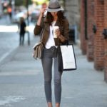 Barbora Ondrackova knows khaki and grey are on trend colors for fall 2016. She elongates her legs with nude heels. Shirt: Topshop, Jacket: Zara, Jeans: Topshop, Heels: Christian Louboutin, Bag: Chloe, Hat: Topshop, Watch: Marc Jacobs, Bracelet: Hermes