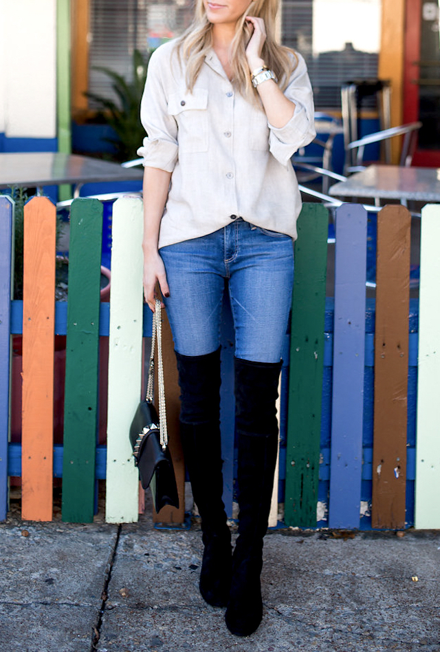 Over the knee boots are a must have this fall. Pairing hers with denim jeans and a cream blouse, Krystal Schlegel creates a smart casual style which is perfect for everyday wear. Shirt: Rails Shirt Co, Boots: Stuart Weitzman.