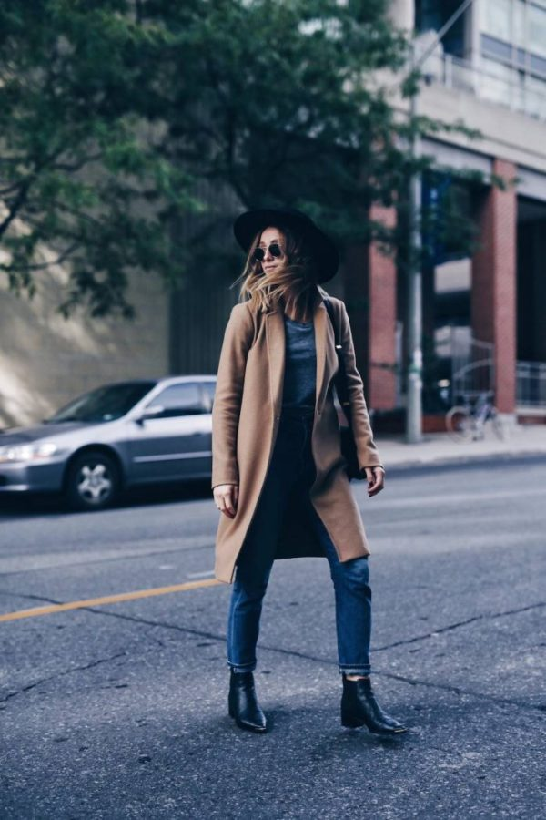 Jill Lansky looks sleek and stylish in a camel coloured coat, denim jeans, and a pair of gorgeous black Chelsea boots. A look such as this is simplistic and achievable; perfect for street style. Coat: Aritzia.