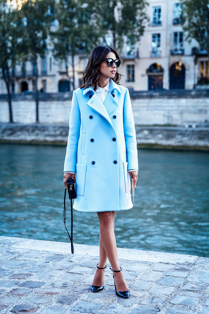 Brighten up your wardrobe with a pastel coloured coat like this one worn by Annabelle Fleur. This piece adds endless freshness to Annabelle's look, and will always afford you the same! Coat: Paul & Joe, Heels: Nuba, Bag: Louis Vuitton.