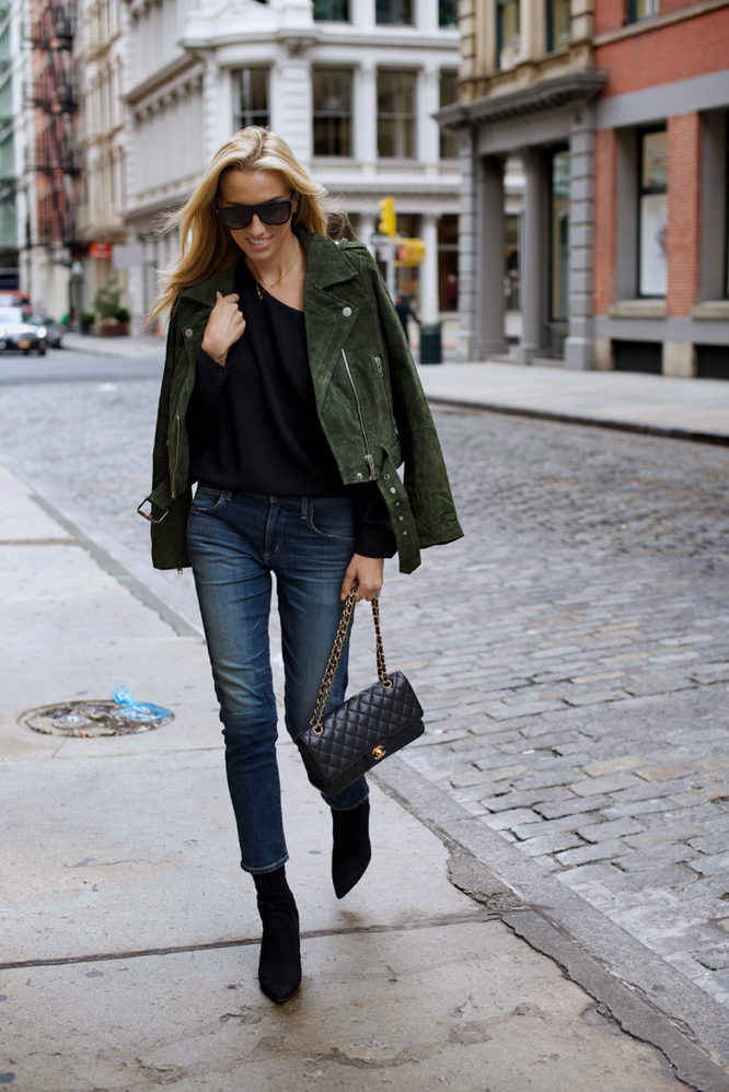 Autumn is here, and khaki is making a comeback! This gorgeous suede jacket worn by Lisa D Cahue is the perfect way to work autumnal hues into your wardrobe! Jacket: Blank NYC, Jeans: Citizens of Humanity, Top: Tibi.