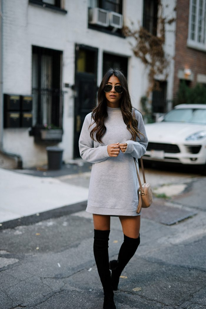 Kayla Seah keeps it simple in a boyfriend style sweater dress, paired with thigh high boots for a feminine finish. This look is perfect for everyday wear, but can also be dressed up with statement jewellery or heels. Sweatshirt: Lovers & Friends, Boots: Sigerson Morrison, Bag: Gucci.