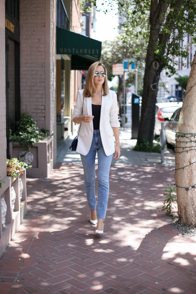 An effortless look by Mary Orton that would make her look fab walking down any city street. Her classic match of a white pinstriped blazer, black tank and simple white pumps is the perfect way to update any old mom jeans you have hanging around.  Blazer: BCBGmaxazria, Jeans: Cheap Monday, Tank: joie, Pumps: Sjp Collection, Bag:3.1 Phillip Lim, Bracelet: Monica Vinader, Pendant and Fringe Necklaces: Melinda Maria, Lips: Nars