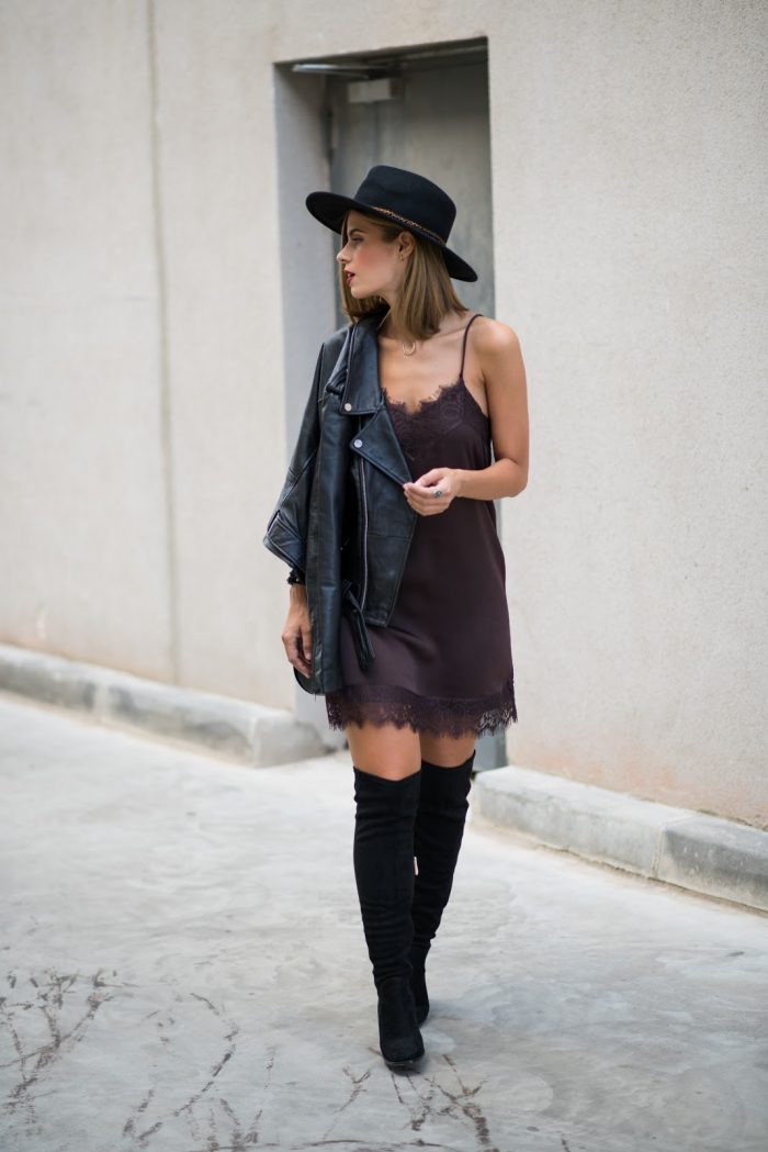 A little lace fringed dress will always afford you a sexy, feminine style which is adaptable and will work with almost anything. Throw a leather jacket on over yours and try the new and in demand pyjama style like Ms Treinta. Dress: Buylevard, Biker Jacket/Boots/Hat: Zara, Bag: Formula Joven.