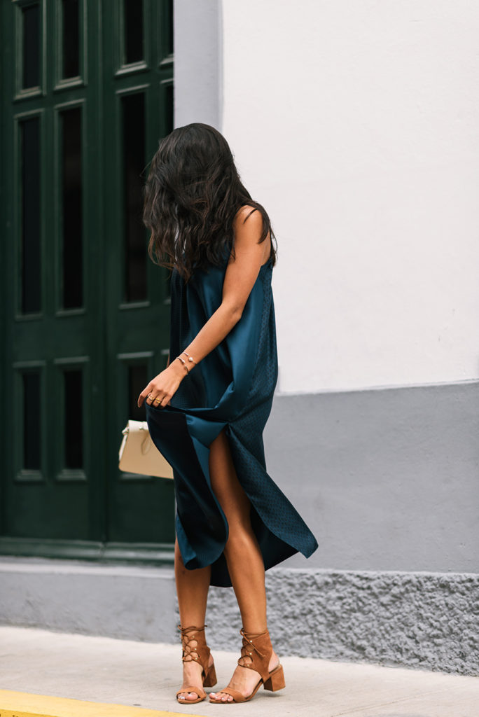 If you don't know what shoes to wear with a slip dress, then take tip or two from Kayla Seah.  Dress: Helmut Lang, Shoes: Schutz, Bag: Strathberry