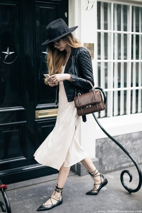 Beatrice Gutu brings something a little more casual to the slip dress with these chic accessories. Dress: Zara, Jacket: Viparo, Flats: Zara, Hat: Brixton, Bag: Vintage
