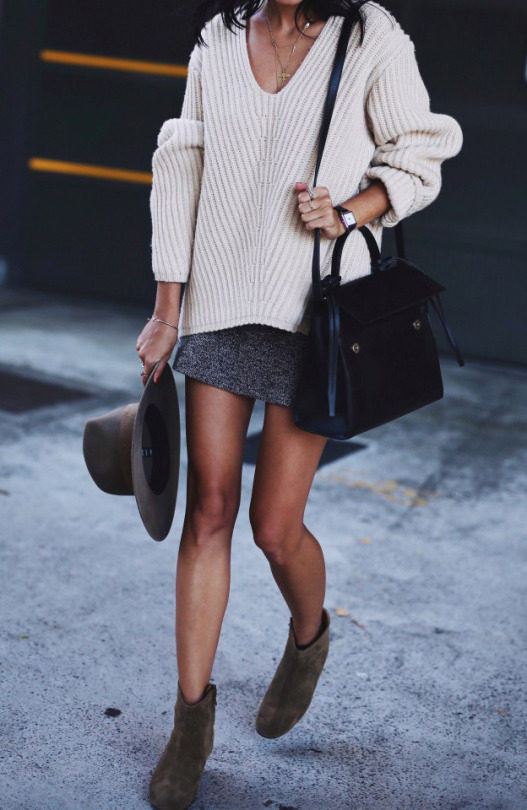 Andi refines the sweater and skirt trend in a super cosy knit jumper paired with a mini skirt and suede boots, finished off with a wide brimmed hat. We love the elegant simplicity of this style! Knit: Acne Studios, Hat: Janessa Leone, Boots: Dicker.