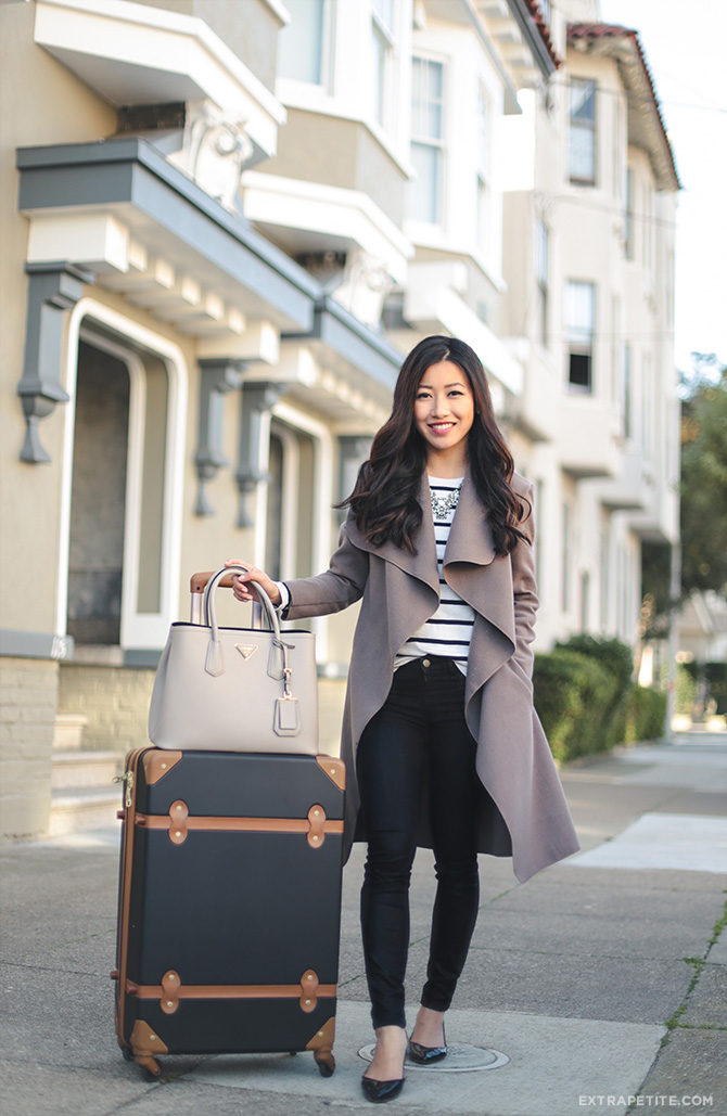 """Having to get from A to B can be exhausting footwork, so we're loving Jean Wang's flowy oversized cardigan and comfy flat pointed shoes. Wrap: Boohoo, Jeans: J. Brand, Flats: BP, Tote: Prada, Luggage: DVF 24"""" Adieu, Necklace: Baublebar, Tee: Talbots"""