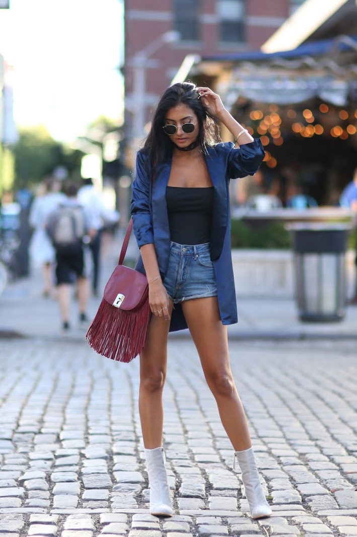 Racquel Natasha stuns us in a funky velvet blazer, worn with a pair of denim cut offs and bright white stilettos for a new and exciting twist on a classic style. Don't be afraid to give velvet a go! Outfit: Revolve.