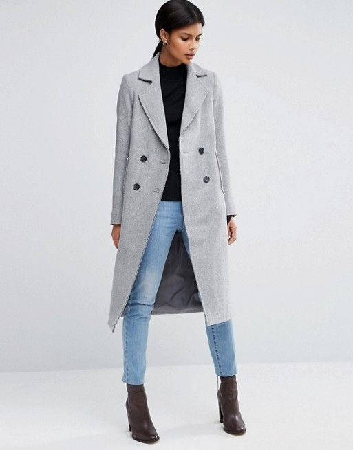 Best Winter Coats ASOS Wool Blend Coat With Raw Edges And Pocket Detail 128 USD