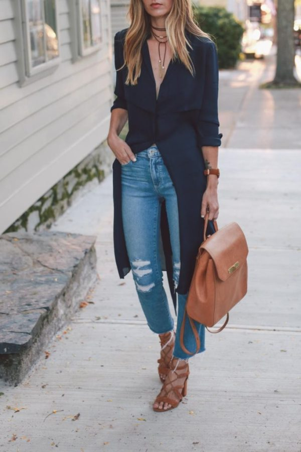 This season layer your chokers for a bold look; Jessica Ann Kirby also masters the elongated waist trend in her long line blazer dress. Swap the jeans for white trousers for smart work outfit. Dress: AYR, Jeans: Paige, Choker: Capwell Getaway, Backpack: Brahmin, Heels: Vince Camuto, Watch: Larsson and Jennings