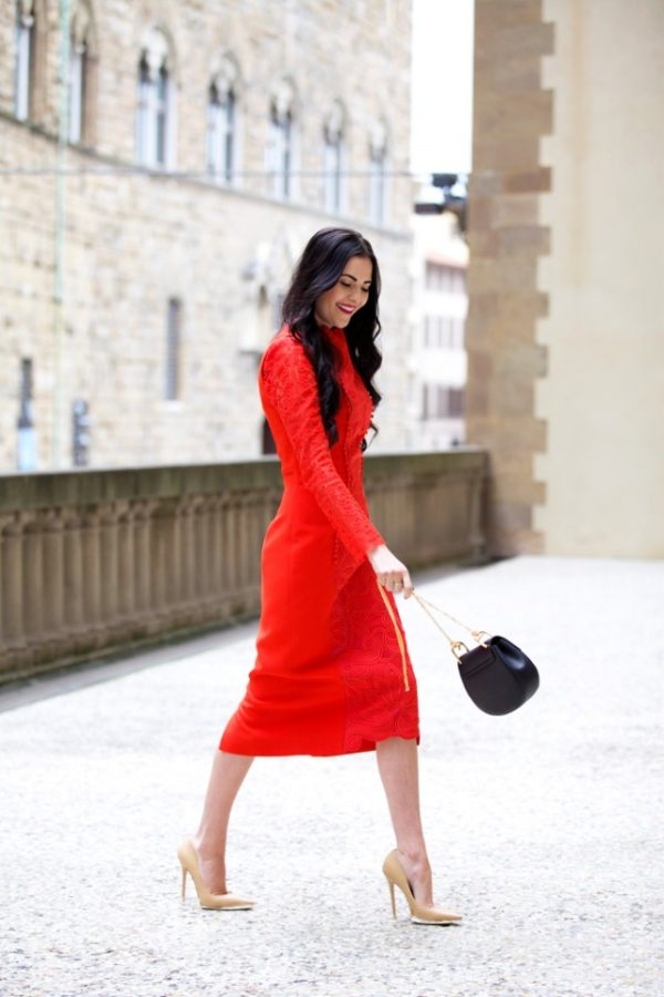 Rachel Parcell is rocking the ultimate red dress; the scarlet lace midi dress! Wear a similar piece with nude heels and a black bag to steal Rachel's hot new style! Dress: Antonio Berardi, Lace Top: Temperley London, Bag: Chloe, Heels: Jimmy Choo.