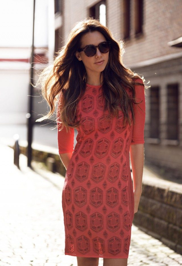 You could also wear a printed red dress for a cute and glam spring look! In a mesh detailed bodycon dres with a black aztec style print, Sanna Tranlov has created an awesome style which we love. Brands not specified.