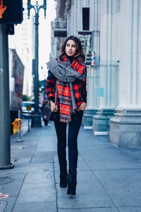 f6390e5335 Black jeans make the perfect combination with a statement jacket and scarf  look such as this worn by Annabelle Fleur. Simple and sophisticated
