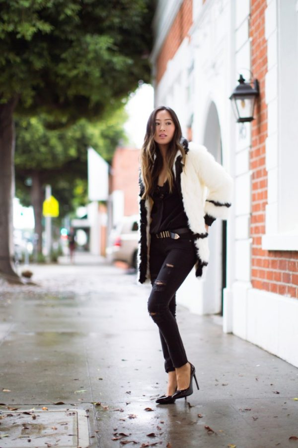 Black Jeans Will Add Edge And Individuality To Any Outfit Aimee Song Wears A Pair With Cute Blouse Furry Coat Signature Winter Style