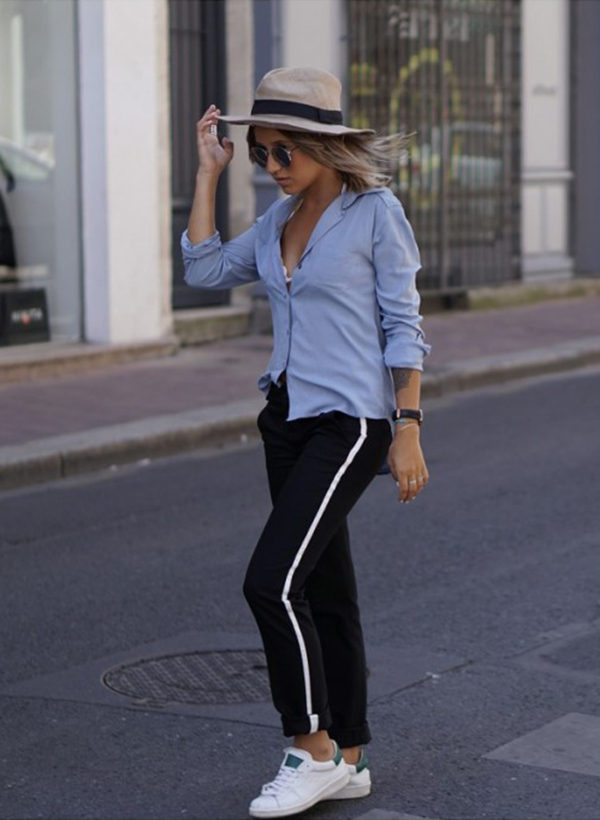 You can never go wrong in a pair of classic black stripe joggers. Camille Callen wears this pair with a pale blue blouse and sneakers. Shirt: Sheinside, Joggers: Zara, Sneakers: Dada Noholita. Outfits With Joggers.