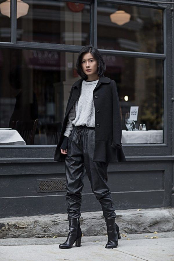 Claire Liu looks ultra badass in these black drawstring joggers from MinkPink. This style is also great for a more androgynous look; we love it! Coat: Zara, Sweater: Chelsea28, Joggers: MinkPink, Boots: Sam Edelman.