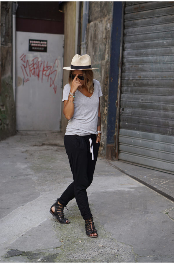 Wear navy joggers with gladiator sandals and a straw hat to recreate Camille Callen's casual style. T-Shirt: H&M, Joggers: Forever 21. Outfits With Joggers.