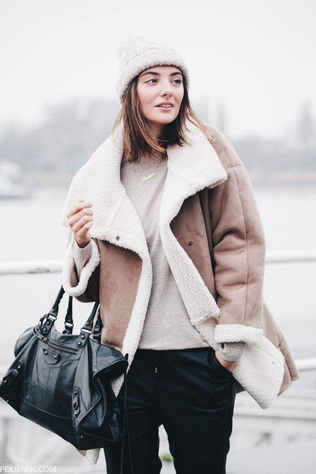 The shearling trend looks fantastic on an oversized suede coat such as this one from Espirit, worn by Polienne. Pair a number like this with joggers and a beanie to steal Polienne's style. Coat/Trousers/Knit: Espirit, Shoes: Pinko, Beanie: H&M, Bag: Balenciaga.