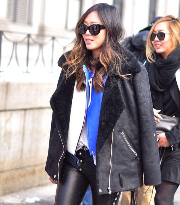 Everything shearling is very much in style again this year. Via Aimee Song. Shearling Trend.