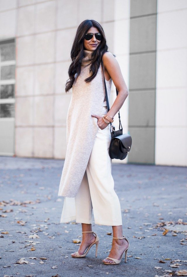 This sleeveless turtle-neck tunic looks sleek and sophisticated worn with open toe strappy sandals and a pair of gorgeous white culottes. This look is perfect for warmer days, both work and play! Via Laura Dittrich. Culottes: Zara, Sleeveless Tunic: River Island, Sandals: Tony Bianco.