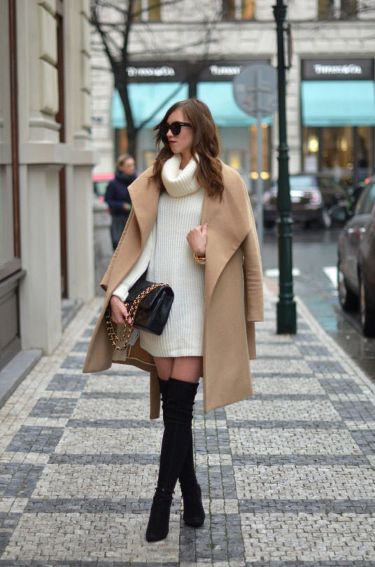 d28ee38e2e6 The camel trend will make a stellar match to a pair of black thigh high  boots