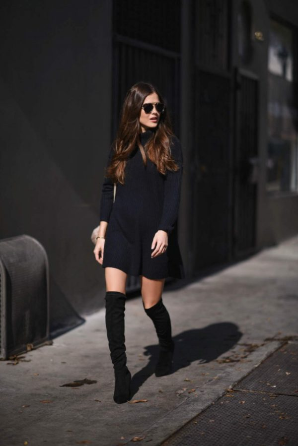 cfb51222acd Little Black Dress With Thigh High Boots Image collections - Black ...