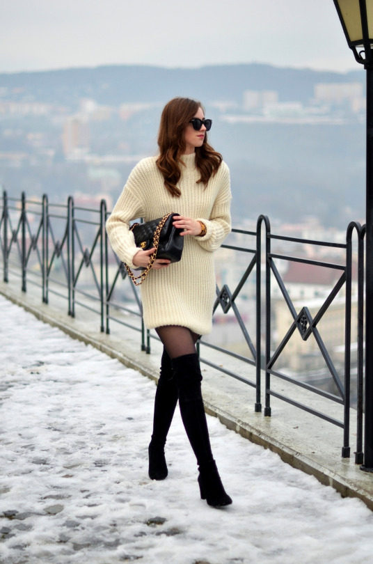 06036bd0ca41 Wear thigh high boots like Barbora Ondrackova and pair them with a sweater  dress and opaque tights. This look is sleek and stylish, perfect for the  winter ...